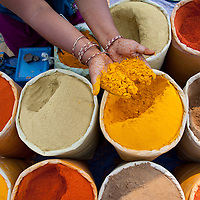 Spices at a market in Delhi, India
