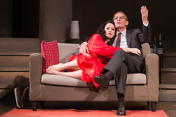 "© Licensed to London News Pictures. 01/11/2013. London, England. Pictured: Sarah Armstrong as Christine Keeler and Paul Nicholas as Stephen Ward. The play ""Keeler"", the inside story of the Profumo Affair based on the book ""The Truth at Last"" by Christine Keeler opens at the Charing Cross Theatre with Sarah Armstrong as Christine Keeler and Paul Nicholas as Stephen Ward. The play is scheduled to run from 31 October to 14 December 2013. Photo credit: Bettina Strenske/LNP"