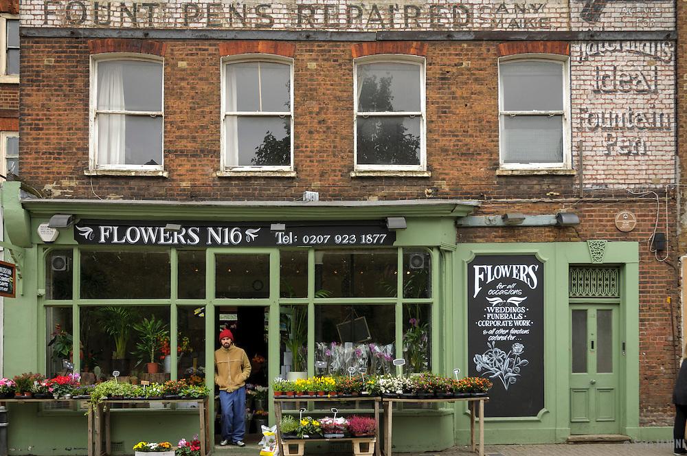 Flower Shop in Stoke Newington, London, England, UK, Europe