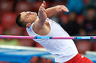 Wojciech Theiner from Poland competes in men's high jump qualification during the Second Day of the European Athletics Championships Zurich 2014 at Letzigrund Stadium in Zurich, Switzerland.<br /> <br /> Switzerland, Zurich, August 13, 2014<br /> <br /> Picture also available in RAW (NEF) or TIFF format on special request.<br /> <br /> For editorial use only. Any commercial or promotional use requires permission.<br /> <br /> Photo by © Adam Nurkiewicz / Mediasport
