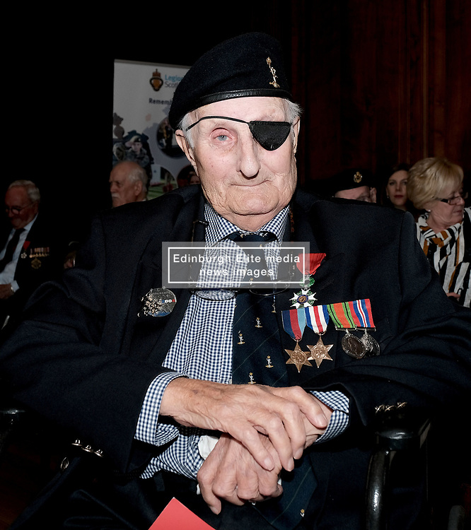 D-Day 75th anniversary, Edinburgh, Friday 6th June 2019<br /> <br /> A service to commemorate the 75th anniversary of the D-Day<br /> landings was organised by Armed Forces charity Legion<br /> Scotland and The French Consulate General.<br /> <br /> It was attended by 15 D-Day veterans, 4 of whom received the Knight of the Légion d'Honneur Cross, serving personnel, various dignitaries and Graeme Dey, the Scottish Government's Minister for Parliamentary Business and<br /> Veterans.<br /> <br /> Pictured: Leonard Humphries (94, Signals) received the medal <br /> <br /> Alex Todd | Edinburgh Elite media