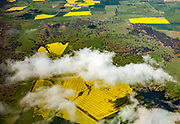 Irigated crops , yellow rapeseed (canola) oil fields, Liverpool Plains, aerial view, Central NSW, Australia