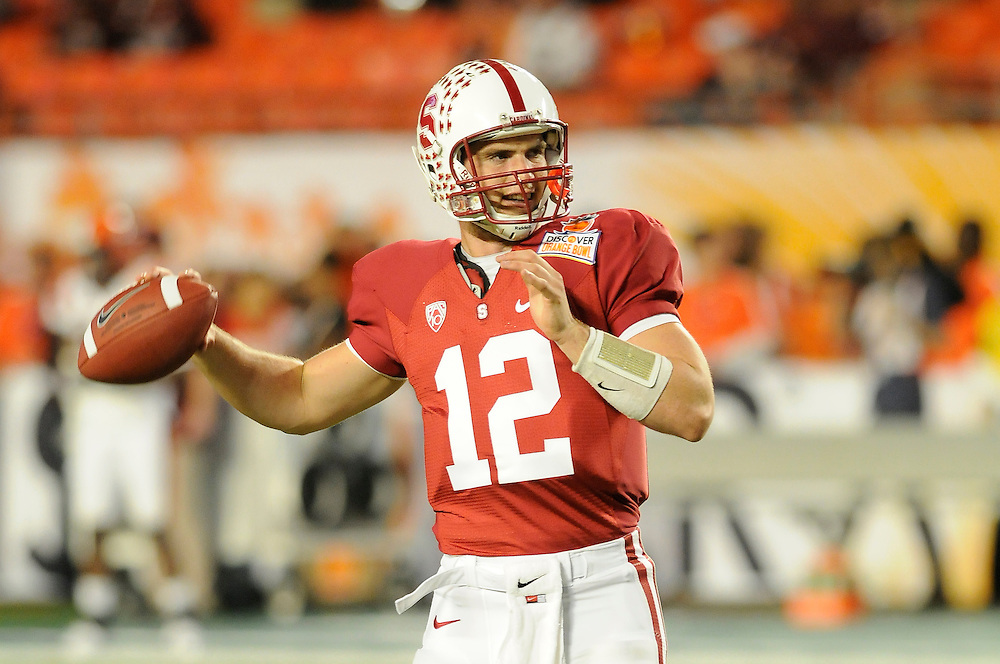 January 3, 2011: Andrew Luck of the Stanford Cardinal warms up prior to the the NCAA football game between the Stanford Cardinal and the Virginia Tech Hokies at the 2011 Orange Bowl in Miami Gardens, Florida.