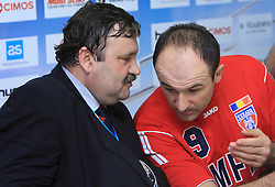 General Manager of Steaua Constantin Cazacu and Bozo Rudic (9) at handball match of 4th Round of EHF Men Championsleague between RK Cimos Koper (SLO) and Steaua MFA Bucuresti (ROM), in Arena Bonifika, Koper, Slovenia, on November 8, 2008. Steaua  won the match 30:29.