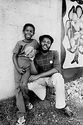 George Faith and son at Lee Perry's Black Ark Studios. 1978