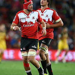 JOHANNESBURG, SOUTH AFRICA - APRIL 30: Warren Whiteley with Franco Mostert of the Emirates Lions during the Super Rugby match between Emirates Lions and Hurricanes at Emirates Airline Park on April 30, 2016 in Johannesburg, South Africa. (Photo by Steve Haag/Gallo Images)