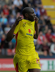 Milton Keynes Dons' Benik Afobe celebrates after scoring his second goal. - Photo mandatory by-line: Nizaam Jones- Mobile: 07583 3878221 - 27/09/2014 - SPORT - Football - Bristol - Ashton Gate - Bristol City v MK Dons - Sports
