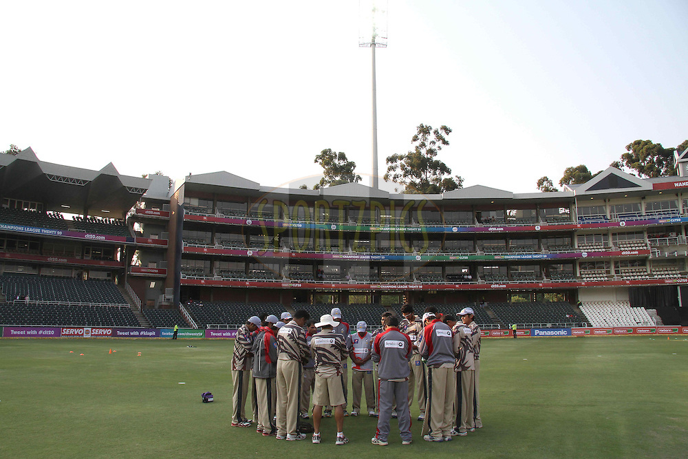 Sialkot Stallions prey before their warm up during 1st Qualifying match of the Karbonn Smart CLT20 South Africa between Uva Next and Yorkshire held at The Wanderers Stadium in Johannesburg, South Africa on the 9th October 2012..Photo by Shaun Roy/SPORTZPICS/CLT20