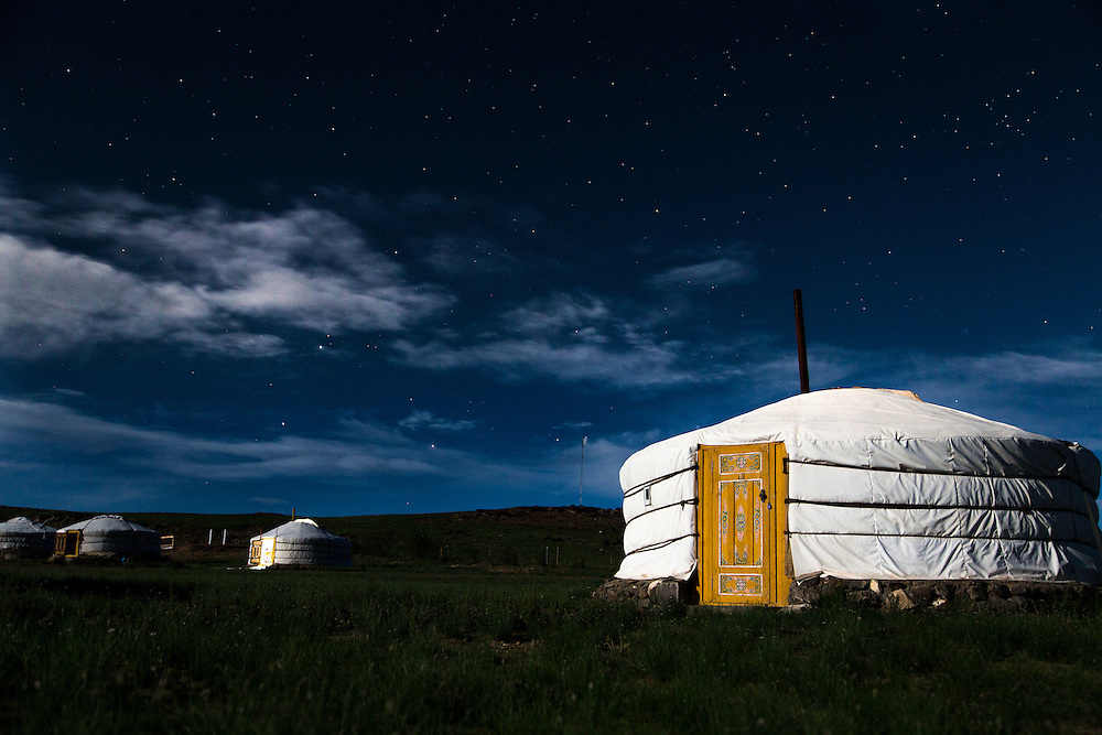 Stars shine over the Ger camp at the Three Camel Lodge in the Gobi Desert of Mongolia on August 1, 2012. © 2012 Tom Turner Photography