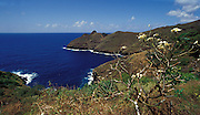 Blick über die Insel mit Küste, Hiva Oa, Französisch Polynesien * View over island with coast, Hiva Oa, French Polynesia