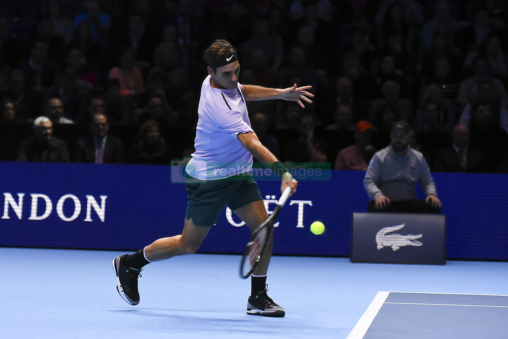 November 18, 2017 - London, England, United Kingdom - Roger Federer of Switzerland plays a forehand during his three set defeat by David Goffin of Belgium in their semi final match the Nitto ATP World Tour Finals at O2 Arena on November 18, 2017 in London, England. (Credit Image: © Alberto Pezzali/NurPhoto via ZUMA Press)
