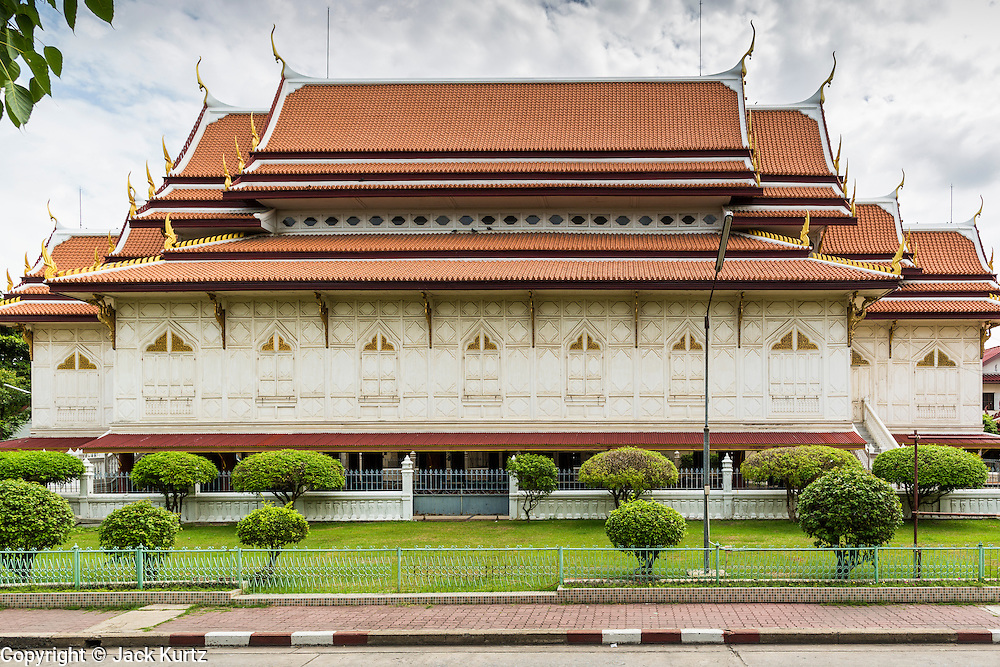 15 JULY 2014 - BANGKOK, THAILAND:    The Sala Karnparian, or main instruction hall at Wat Rachathiwat Ratchaworawihan on Samsen Soi 9. The temple has a large teak instruction hall, considered one of the finest teak buildings in Asia.   PHOTO BY JACK KURTZ