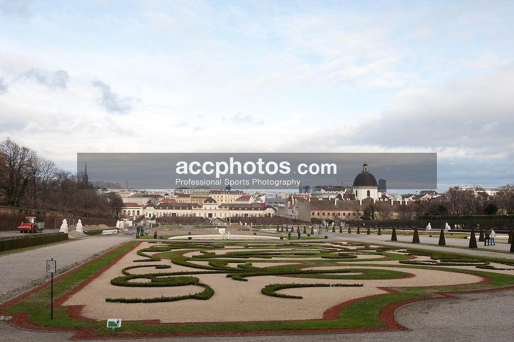 22 December 2008: Belvedere Palace and Österreichische Galerie Belvedere museum in Vienna, Austria.