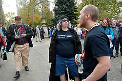 Contra-protestors and Anti Trump/Pence protestors engage in discussion at Rittenhouse Square after a Refuse Fascisme anti-Trump/Pence protest march on November 4, 2017, in Philadelphia, PA