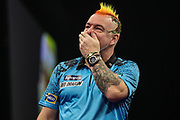 Peter Wright reaction after missing a dart at a double during the Grand Slam of Darts, at Aldersley Leisure Village, Wolverhampton, United Kingdom on 17 November 2019.