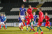 Andrew Winter (Hamilton Academical) & Eduardo Filipe Quaresma Vieira Coimbra Simoes (C) challenge for the ball in the air during the U17 European Championships match between Portugal and Scotland at Simple Digital Arena, Paisley, Scotland on 20 March 2019.
