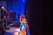 UNITED KINGDOM, London: 25 May 2019 <br /> A cosplay competitor just before walking on stage to compete in the Championships of Cosplay during the MCM London Comic Con. The three day comic convention is being held at London ExCeL from Fri 24th - Sun 26th of May.