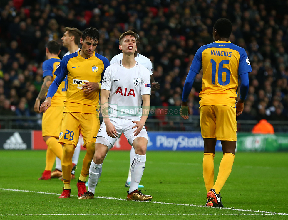 December 6, 2017 - London, England, United Kingdom - Tottenham Hotspur's Juan Foyth..during the Champions  League Group G  match between Tottenham Hotspur and Apoel Nicosia at Wembley stadium , London, England on 6 Dec 2017. (Credit Image: © Kieran Galvin/NurPhoto via ZUMA Press)