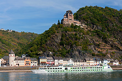Castle Burg Katz on hill above River Rhine in Rhineland Germany