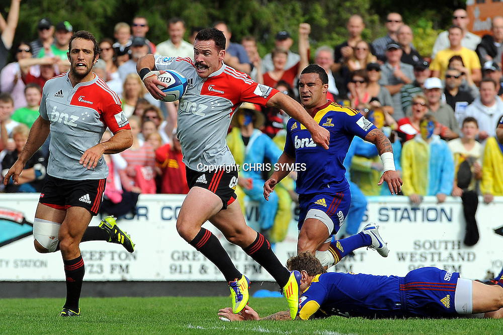 Crusaders Ryan Crotty in action during their Super Rugby Pre-season game Crusaders v Highlanders. Rugby Park, Greymouth, New Zealand. Friday 3 February 2012. Photo: Chris Symes/www.photosport.co.nz