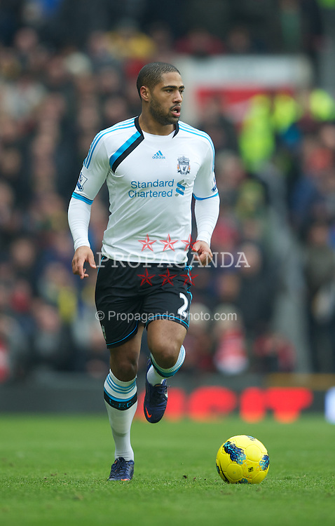 MANCHESTER, ENGLAND - Saturday, February 11, 2012: Liverpool's Glen Johnson in action against Manchester United during the Premiership match at Old Trafford. (Pic by David Rawcliffe/Propaganda)