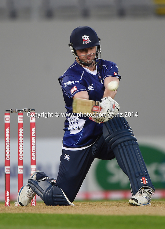 Colin Munro in action for Auckland during the Georgie Pie Super Smash Twenty20 cricket match between the Auckland Aces and Wellington Firebirds at Eden Park, Auckland on Friday 14 November 2014. Photo: Andrew Cornaga / www.Photosport.co.nz