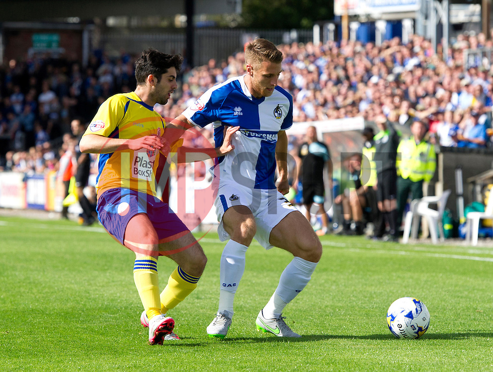 Lee Brown of Bristol Rovers in action against Piero Mingoia of Accrington Stanley - Mandatory by-line: Paul Knight/JMP - Mobile: 07966 386802 - 12/09/2015 -  FOOTBALL - Memorial Stadium - Bristol, England -  Bristol Rovers v Accrington Stanley - Sky Bet League Two