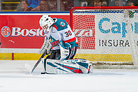 KELOWNA, CANADA - JANUARY 16:  Roman Basran #30 of the Kelowna Rockets makes a save against the Moose Jaw Warriors on January 16, 2019 at Prospera Place in Kelowna, British Columbia, Canada.  (Photo by Marissa Baecker/Shoot the Breeze)