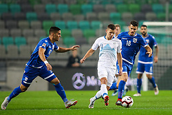 Pieros Sotiriou of Cyprus, Roman Bezjak of Slovenia and Kostakis Artymatas of Cyprus during football match between National Teams of Slovenia and Cyprus in Final Tournament of UEFA Nations League 2019, on October 16, 2018 in SRC Stozice, Ljubljana, Slovenia. Photo by  Morgan Kristan / Sportida