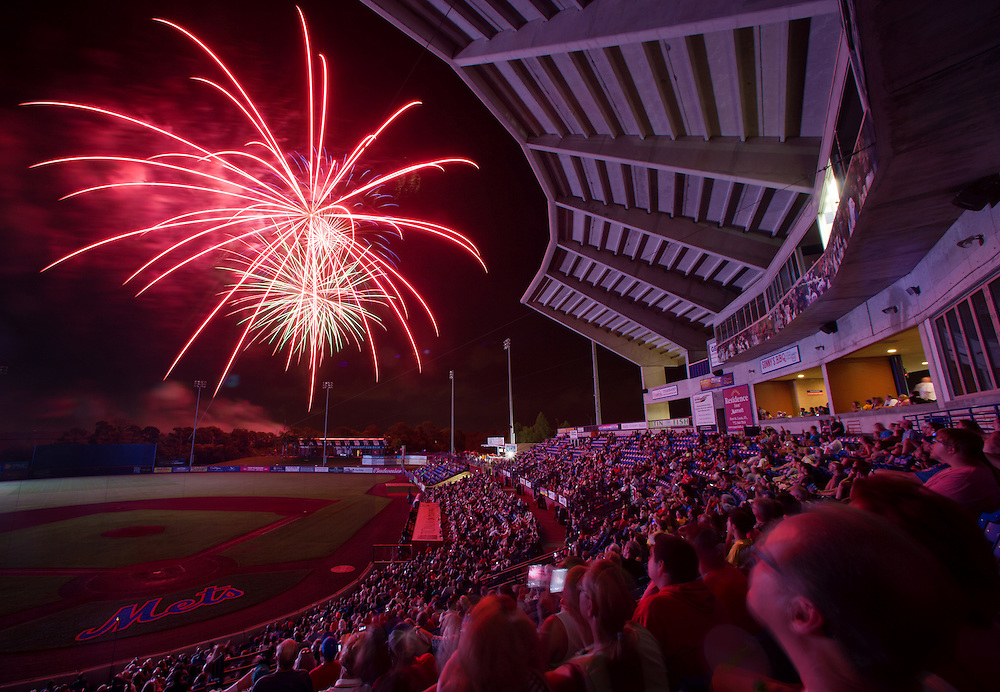 Xavier Mascareñas/Treasure Coast Newspapers; Fireworks bloom in the night sky during the Independence Day Celebration fireworks after the St. Lucie Mets game against the Jupiter Hammerheads on July 3, 2015, at Tradition Field in Port St. Lucie.