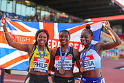 Silver medalist Asha PHILIP, gold medalist Dina ASHER-SMITH and bronze medalist Daryll NEITA pose after the Women's 100m Final during the Muller British Athletics Championships at Alexander Stadium, Birmingham, United Kingdom on 24 August 2019.