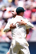 Nathan Lyon celebrates catching Mark Stoneman during the Magellan fourth test match between Australia v England at  the Melbourne Cricket Ground, Melbourne, Australia on 26 December 2017. Photo by Mark  Witte.