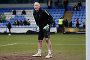 Conrad Logan warms up before the EFL Sky Bet League 2 match between Macclesfield Town and Forest Green Rovers at Moss Rose, Macclesfield, United Kingdom on 25 January 2020.