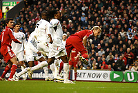 Photo: Paul Greenwood/Sportsbeat Images.<br />Liverpool v Bolton Wanderers. The FA Barclays Premiership. 02/12/2007.<br />Liverpool's Sami Hypia gets in front of the Bolton defence to score the first goal