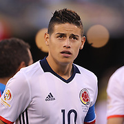 EAST RUTHERFORD, NEW JERSEY - JUNE 17: James Rodriguez #10 of Colombia during the team group photograph before the Colombia Vs Peru Quarterfinal match of the Copa America Centenario USA 2016 Tournament at MetLife Stadium on June 17, 2016 in East Rutherford, New Jersey. (Photo by Tim Clayton/Corbis via Getty Images)