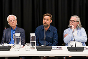 Duncan Campbell, Jon Robins and  Patrick Maguire take part in a panel discussion at The Justice Gap and Byline Media  launch Proof magazine at the NUJ head office, central London. 9th July 2019. (photo by Andy Aitchison)