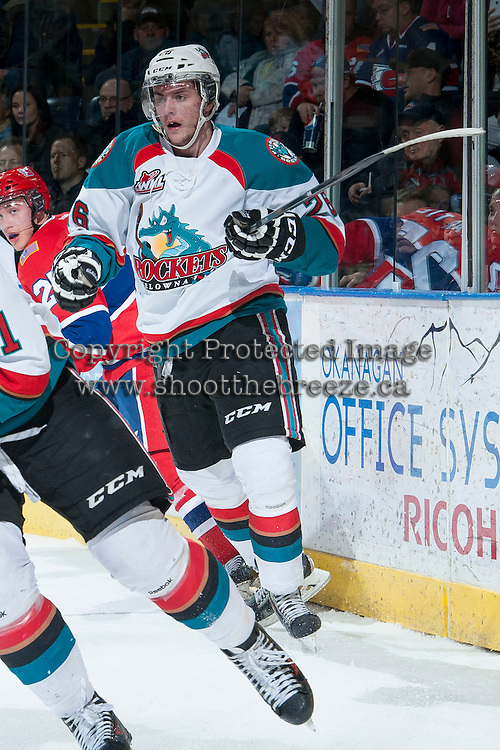 KELOWNA, CANADA -JANUARY 29: Cole Linaker #26 of the Kelowna Rockets skates against the Spokane Chiefs on January 29, 2014 at Prospera Place in Kelowna, British Columbia, Canada.   (Photo by Marissa Baecker/Getty Images)  *** Local Caption *** Cole Linaker;