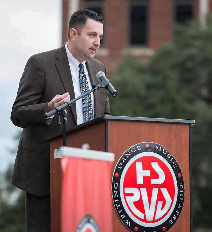 Dr. Scott Allen comments during a groundbreaking ceremony for the new High School for Performing and Visual Arts in downtown Houston, December 14, 2014.