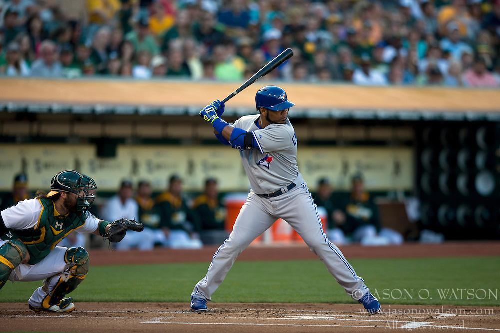 OAKLAND, CA - JULY 05:  Edwin Encarnacion #10 of the Toronto Blue Jays at bat against the Oakland Athletics during the first inning at O.co Coliseum on July 5, 2014 in Oakland, California. The Oakland Athletics defeated the Toronto Blue Jays 5-1.  (Photo by Jason O. Watson/Getty Images) *** Local Caption *** Edwin Encarnacion