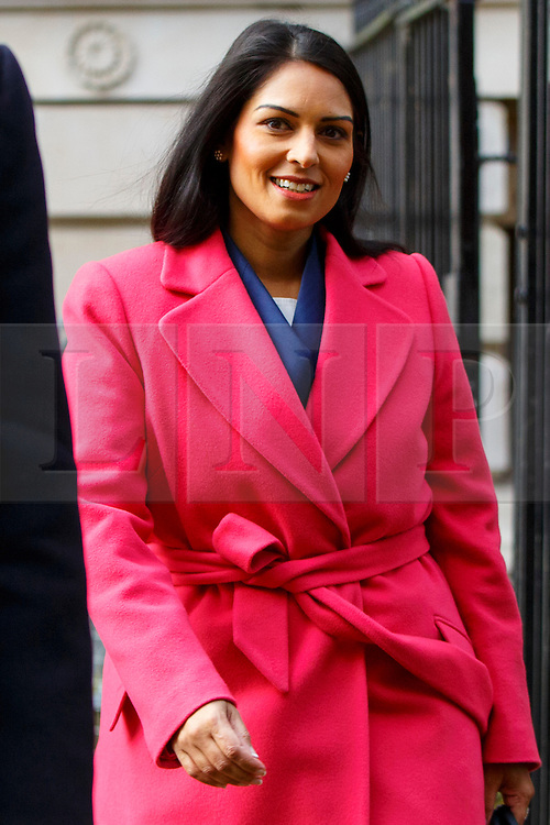 © Licensed to London News Pictures. 20/02/2016. London, UK. Minister for Employment PRITI PATEL attending a cabinet meeting in Downing Street on Saturday, 20 February 2016 after a deal made on the UK's EU membership in Brussels. Photo credit: Tolga Akmen/LNP