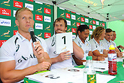 CAPE TOWN, SOUTH AFRICA - OCTOBER 15 2015, Kyle Brown answers a few questions as Frankie Horne scores during the Springbok 7's Try Dive competition at the University of Cape Town's Jameson Plaza for the Cape Town 7s taking place at Cape Town Stadium on12&amp;13 December 2015.<br /> Photo by Roger Sedres/ImageSA