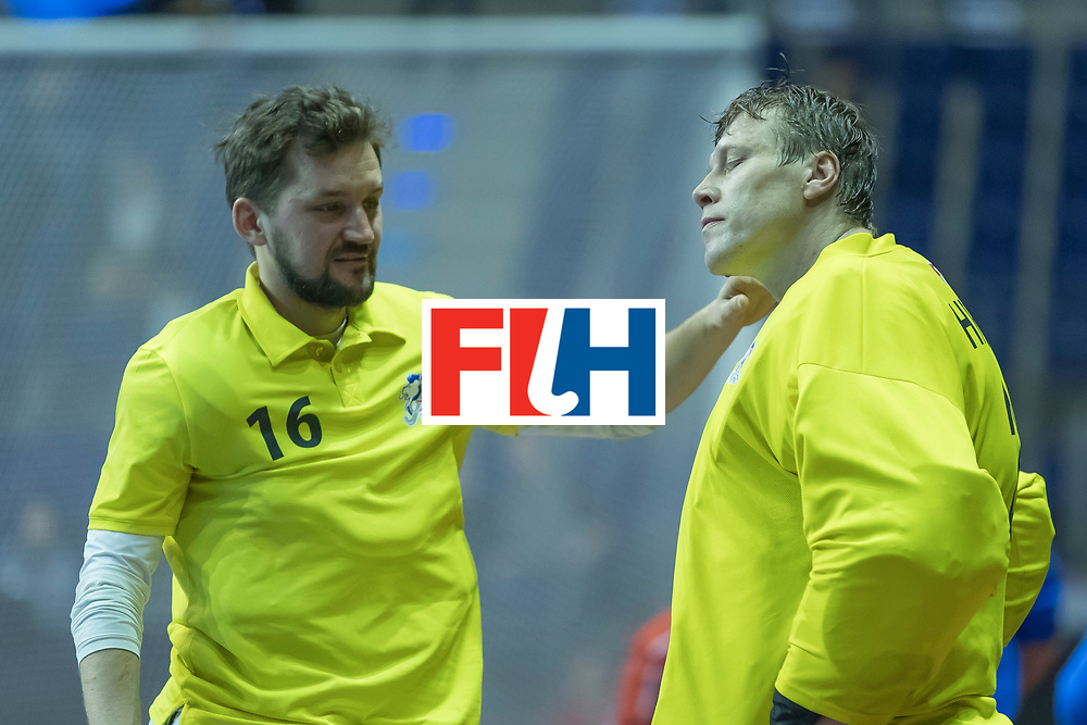 Hockey, Seizoen 2017-2018, 09-02-2018, Berlijn,  Max-Schmelling Halle, WK Zaalhockey 2018 MEN, Iran - Czech Republic 2-2 Iran Wins after shoutouts, Tomas Hanus (GK)  en Pavel Hraba (GK) disappointed.
