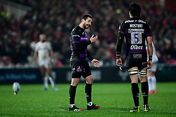 Danny Cipriani of Gloucester Rugby talks with Franco Mostert of Gloucester Rugby - Mandatory by-line: Ryan Hiscott/JMP - 14/02/2020 - RUGBY - Kingsholm - Gloucester, England - Gloucester Rugby v Exeter Chiefs - Gallagher Premiership
