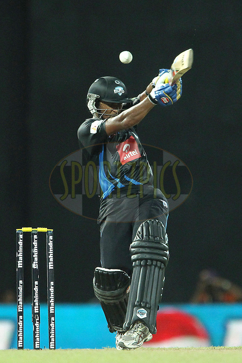 Dinesh Chandimal deals with a high delivery from Lasith Malinga during match 20 of the Sri Lankan Premier League between Ruhuna Royals and Wayamba United held at the Premadasa Stadium in Colombo, Sri Lanka on the 26th August 2012. .Photo by Ron Gaunt/SPORTZPICS/SLPL