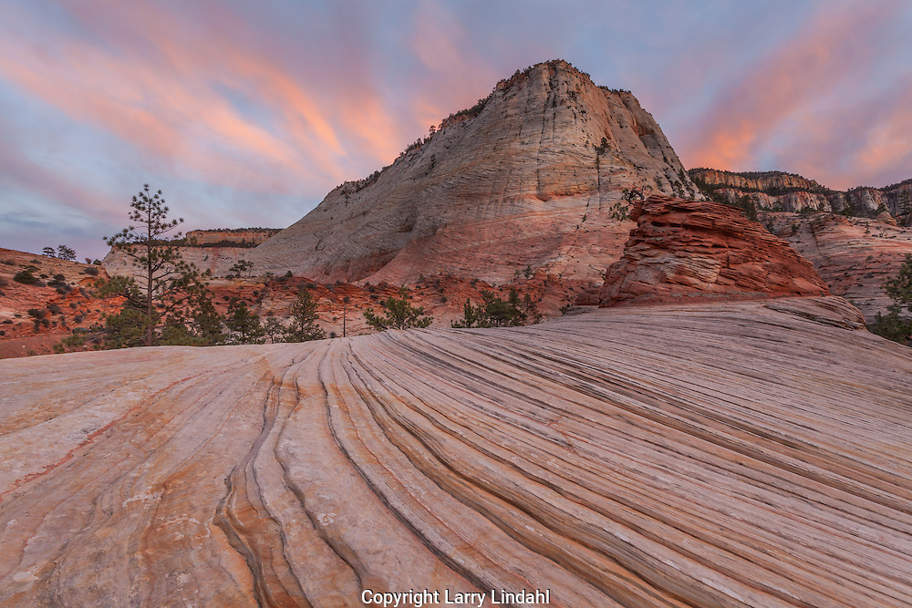 Sunset, Checkboard Mesa, Zion National Park, Utah, sandstone,