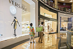 Luxury boutiques at  Mall of the Emirates shopping centre in Dubai United Arab Emirates