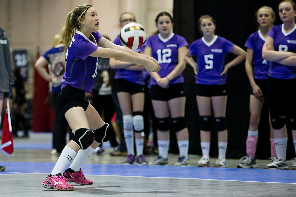 Athletes compete at the Canadian Volleyball Championships in Calgary on May 14, 2015.
