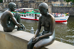 Bronze statues beside Spree River in Mitte district of Berlin Germany