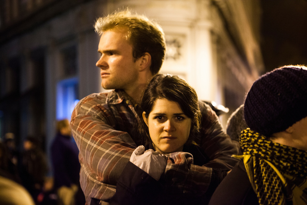 A young couple taking part in the Occupy Oakland movement.