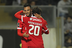 November 5, 2017 - Guimaraes, Guimaraes, Spain - Benfica's Greek midfielder Andreas Samaris celebrates after scoring goal with teammate Benfica's Croatian midfielder Filip Krovinovic during the Premier League 2017/18 match between Vitoria SC and SL Benfica, at Dao Afonso Henriques Stadium in Guimaraes on November 5, 2017. (Credit Image: © Dpi/NurPhoto via ZUMA Press)